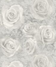 Arthouse Reverie Silver Wallpaper 623303. Floral Rose Damask Grey Shabby Chic
