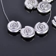 10pcs 14mm Snail Shape Tibetan Silver Metal Loose Spacer Beads Jewelry Making