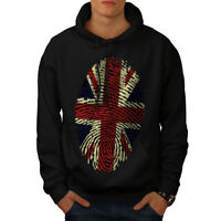 Wellcoda British Fingerprint Mens Hoodie, Union Casual Hooded Sweatshirt