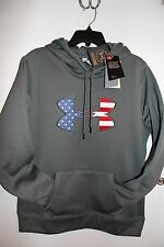 NWT UNDER ARMOUR WOMEN'S STORM FLEECE GREEN HOODIE AMERICAN USA FLAG BIG LOGO L