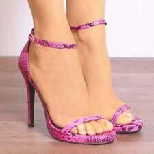 Animal Print Stiletto Strappy, Ankle Straps Heels for Women