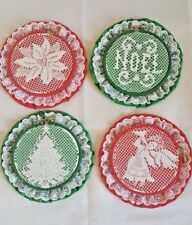 Lot of 4 Crochet Doilies in Embroidery Hoops on Green and Red Fabric Christmas
