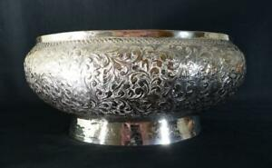Large Antique Indian Silver Plated Bowl Late 19thC