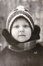 1974 Cute little girl in winter clothes fashion old Russian Soviet photo