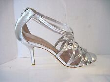 Womens Glint strappy silver leather heels/ shoes zipper on back  sz. 10 M