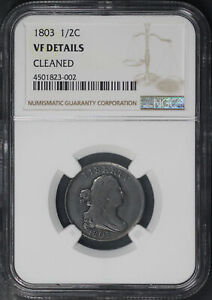1803 Draped Bust Half Cent NGC VF Details Cleaned