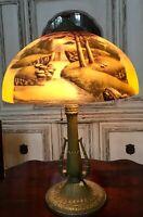 """Antique Phoenix Reverse Painted Landscape Table Lamp 16"""" Shade"""