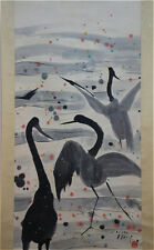 Excellent Chinese 100% Hand Painting & Scroll Three Swans By Wu Guanzhong 吴冠中 NK