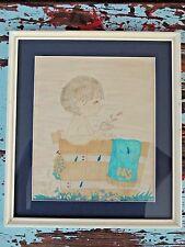 Rare Cute Hand Drawn Watercolor HIS Kid Bathroom Bathtube Art Framed Matted VTG