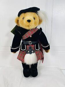 "Harrods Exclusive Merrythought Scottish Highlander Kilt Red Plaid Teddy Bear 17"""