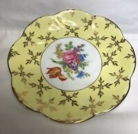 Imperial Bone China tea cup saucer yellow with Gold Trim/floral Made in England