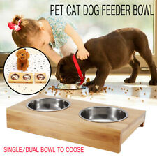 Stainless Steel Wood Double Pet Bowl Dog Cat Twin Dish Water Food Feeder *#