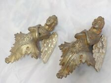 19TH Angel Cherub Putti PAIR French Figural Bronze Pediment Furniture Salvage #1