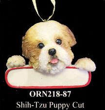 "Shih Tzu Puppy Cut Christmas Ornament ""Santa's Pals"" Personalized Name Plate #87"