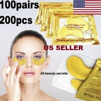 100 Pairs 24k Gold Eye Collagen Aging Wrinkle Gel Patch Anti Mask US Seller Lot