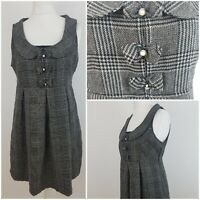 Atmosphere Tweed Style Black Rose Gold Wool Pinafore Dress Bows 12 Christmas