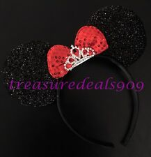 Minnie Mouse Princess Sparkly Black Ears Headband Shiny Tiara Crown Red Bow CUTE