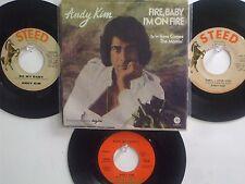 LOT OF 4 ' ANDY KIM ' HIT 45's+1PS [Fire,Baby I'm On Fire]    THE 60's&70's!