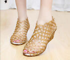 Shiny Women Summer Jelly Peep Toe Hollow Out Wedge Heels Casual Sandal Shoes