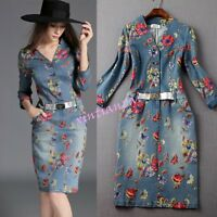 Womens Washed Denim Dress Long Casual Jean Dresses Floral printed Half Sleeve