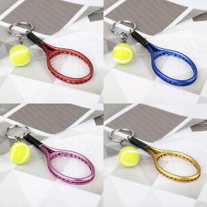Tennis Style Keyring NEW UK Seller Sport Ball Key Ring Racket