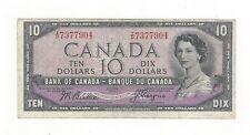 **1954 Devil's Face**Canada $10 Note, Beattie/Coyne BC-32b, Ser# ID 7377904