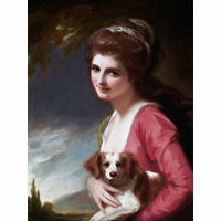 Romney Portrait Lady Hamilton Dog Painting Large Canvas Art Print