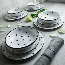 Handmade White and BlackPolka Dot Ceramic Dinnerware Set, Dinning Set for Four