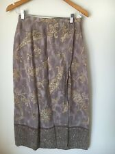 Marks And Spencer Size 12 Viscose Coffee And Cream Wrap Skirt <T5942