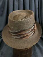 Brown Milan Straw Size 7 Pork Pie Vintage Hat with Classic Ribbon, Flawless