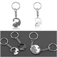 Personalised Gift Stainless Steel Cat Keychain Key Ring Black White Couple Lover