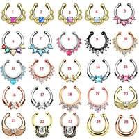 Non-Piercing Opal Gem Fake Nose Hoop Ring Open Ear Septum Body Piercing Jewelry