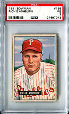 1951 Bowman RICHIE ASHBURN #186 Philadelphia Phillies 6x All-Star HOF VG PSA 3
