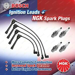 4 x NGK Spark Plugs + Bosch Ignition Leads Kit for Kia Rio BC A5D 475mm 00-02