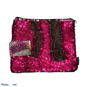 """Style Lab Pink Champagne/Iridescent Magic Sequin Zip Pouch 77206 9.5""""L X 7.5""""H"""