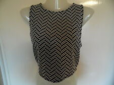 Ladies Black and White crew neck, Polka dots, sleeveless top size M