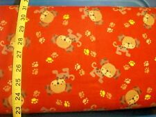 B15 Little brown dog on red/brick with paws Flannel Material New Sold BTY