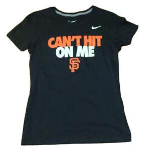 womens San Francisco SF Giants Nike Slim Fit Medium black t-shirt Cant Hit On Me