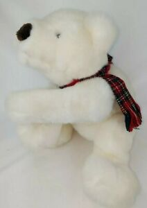 WHITE POLAR BEAR RUSS BERRIE TEDDY BEAR PLUSH LOVEY PLAID SCARF BEANBAG FEET