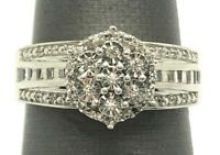 Sterling Silver 925 Illusion Baguette Elevated Elegant CZ Flower Cocktail Ring