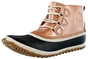 SOREL WOMEN'S OUT 'N ABOUT  WATERPROOF LEATHER RAIN BOOTS COLOR PENNY/NATURAL
