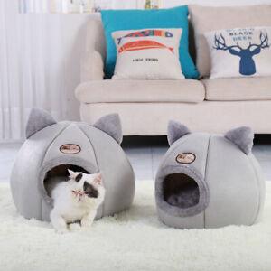 Comfort Cat Bed with Mat Basket Warm Fleece Cat House Cozy Cave Bed Igloo Indoor