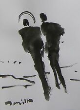 JOSE TRUJILLO ABSTRACT EXPRESSIONISM INK WASH ANGEL ANGELIC FIGURES ART 9X12