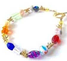 Dragonfly Art Glass BOHO Bracelet Stone Glass Crystal Colorful Bold Statement