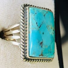 EXTRAORDINARY COLOR 100% Natural Turquoise Ring 5 Squared ART 'J'