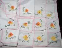 12 vtg hand embroidered appliqued floral napkins or handkerchiefs, pink edge