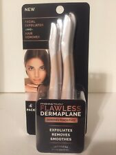 (1)Finishing Touch Flawless Dermaplane Facial Exfoliator Hair Remover 4 Pack Set