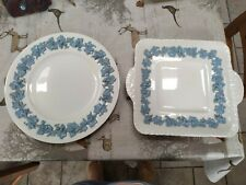 More details for wedgwood of etruria & barlaston embossed queen's ware cream & blue plates x 2