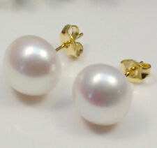 Wholesale Natural Genuine Akoya Freshwater Pearl 14K Gold Plated Stud Earrings