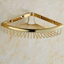 Gold Color Brass Corner Shelf Shower Bathroom Basket Storage Organiser Rack